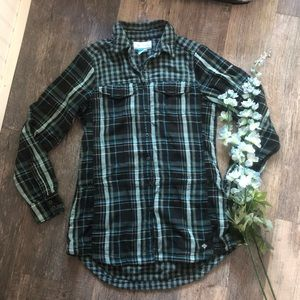 Columbia | Plaid Flannel Button Up Tunic Top